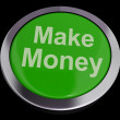 Make Money Button Green Showing Startup Business And Wealth — Stockfoto