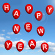 Balloons In The Sky Spelling Happy New Year — Stock Photo