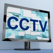 CCTV Monitor For Security Surveillance To Prevent Crime - 图库照片