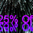 Fireworks Showing Sale Discount Of Twenty Five Perc — Stock Photo