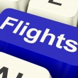 Stock Photo: Flights Key In Blue For Overseas Vacation Or Holiday