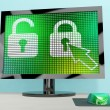 Padlock Icon On Computer Screen Showing Safety Security And Prot — Stock Photo