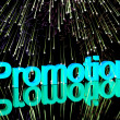 Promotion Word With Fireworks Showing Sale Savings Or Discounts — Stock Photo