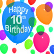 Multicolored Balloons For Celebrating A 10th or Tenth Birthday - Stock Photo
