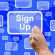 Stock Photo: Sign Up Button On Blue Showing Subscription And Registration
