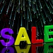 Sale Word And Fireworks Showing Promotion Discount And Reduction — Stock Photo