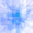 Bright Glowing Blue Glass Background With Artistic Cubes Or Squa — Stock Photo