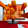 Three Dimensional Orange Squares On Computer Monitor Showing 3d — Stock Photo