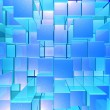 Bright Glowing Blue Opaque Metal Background With Artistic Cubes - Photo