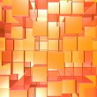 Bright Glowing Red And Orange Background With Artistic Cubes Or — Stock Photo