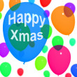 Balloons In The Sky With Happy Xmas — Stock Photo