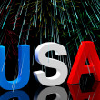 UsWord And Fireworks As Symbol For AmericAnd Patriotism — Stock Photo #10448492