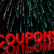 Coupons Word With Fireworks Showing Vouchers For Reductions Or D — Stock Photo