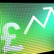 Pound Sign And Up Arrow On Screen Showing Gbp Value Increasing - Stock Photo