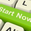 Start Now Key Meaning To Commence Immediately On Internet — Stock Photo