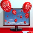 I Love You Balloons From Computer Screen Showing Love And Online — Stock Photo