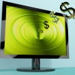 Dollar Symbols Coming From Screen Showing Money Wealth Earnings — Stock Photo #10448646
