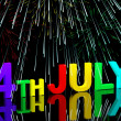 Fourth July Word And Fireworks As Symbol For America And Patriot — 图库照片