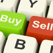 Buy And Sell Keys Representing Business Trade Or Stocks Online - ストック写真