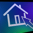 Stock Photo: Home Symbol On Computer Monitor Showing Real Estate Or Rentals