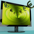 Stock Photo: Euro Symbols From Computer Screen Showing Money Investments And