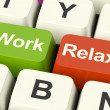 Work Relax Keys Showing Decision To Take A Break Or Start Retire — Stock Photo