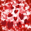 Hearts Falling With Bokeh Background Showing Love And Romance — Stock Photo