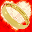 Gold Ring On Heart Bokeh Background Representing Love Valentine — Stock Photo