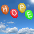 Stock Photo: Hope Balloons In Sky As Sign Of Wishing And Hoping