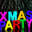 Stock Photo: Xmas Party Words With Fireworks Showing Christmas Celebration