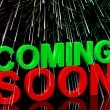 Coming Soon Words With Fireworks Showing New Product Arrival Ann - Stock Photo