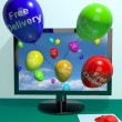 Stock Photo: Free Delivery Balloons From Computer Showing No Charge Or Gratis