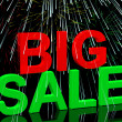 Big Sale Word And Fireworks Showing Promotion Discount And Reduc — Stock Photo
