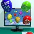 Balloons From Computer Showing Sale Discount Of Twenty Percent — Stock Photo