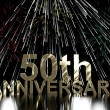 Gold 50th Anniversity With Fireworks For Fiftieth Celebration Or — Stock Photo #10448905