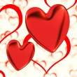 Red, Hearts On A Heart Background Showing Love Romance And Roman — Stock Photo #10448920