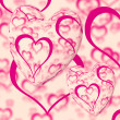 Постер, плакат: Pink Hearts Design On A Heart Background Showing Love Romance An