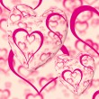 Pink Hearts Design On A Heart Background Showing Love Romance An — Stock Photo #10448940