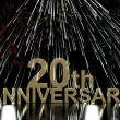 Stock Photo: Gold 20th Anniversity With Fireworks For Twentieth Celebration O