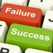 Success And Failure Computer Keys Showing Succeeding Or Failing — Stock Photo #10448966