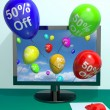 Balloons From Computer Showing Sale Discount Of Fifty Percent — Stock Photo #10448984