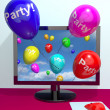 Stock Photo: Balloons With Party Text Showing Invitation Sent Online