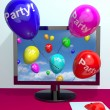 Balloons With Party Text Showing Invitation Sent Online — 图库照片