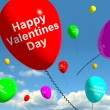 Stock Photo: Happy Valentines Day Balloons In Sky Showing Love And Affect