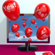 Yes Balloons From A Computer Showing Approval And Support Messag — Stock Photo