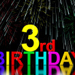 Third Or 3rd Birthday Celebrated With Fireworks — Stock Photo #10449426