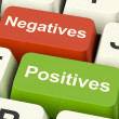 Negatives Positives Computer Keys Showing Plus And Minus Alterna — Stock Photo