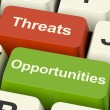 Stock Photo: Threats And Opportunities Computer Keys Showing Business Risks O