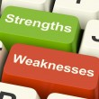 Strengths And Weaknesses Computer Keys Showing Performance Or An — Stock Photo