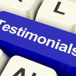 Testimonials Computer Key Showing Recommendations And Tributes O - ストック写真